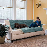 Great Bay Home Kaylee Collection Blue Silver Reversible Quilted Furniture Sofa Protector