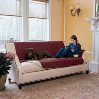Great Bay Home Kaylee Collection Oxblood Red Reversible Quilted Furniture Sofa Protector