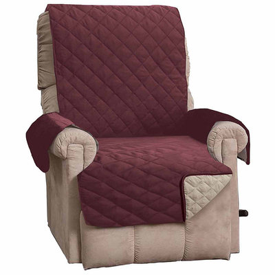 Great Bay Home Kaylee Collection Oxblood Red Reversible Quilted Recliner Furniture Protector