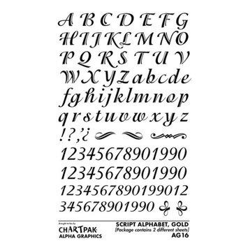Rub-On Art, Letter Transfers, Script Style, 5/8