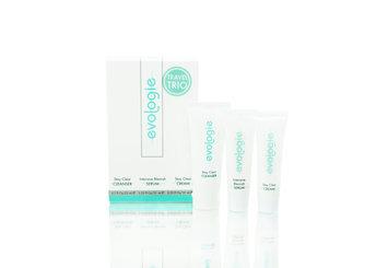 evologie Travel Trio contains: Stay Clear Cleanser 0.7 fl oz, Intensive Blemish Serum 0.33 fl oz, Stay Clear Cream 0.33 fl oz