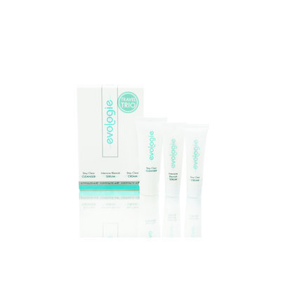 evologie Travel Trio contains: Stay Clear Cleanser 0.7 fl oz, Intensive Blemish Serum 0.33 fl oz, Stay Clear Cream 0.33 fl oz