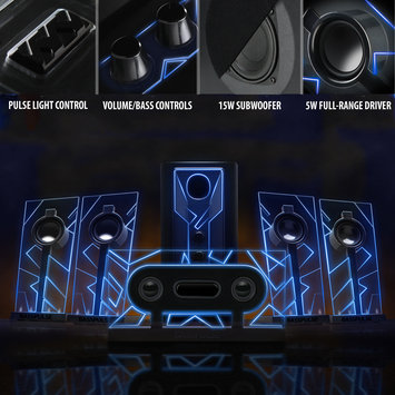 Accessory Power GOgroove BassPULSE 5.1 Surround Sound Computer Speaker System with LED Lights and Powered Subwoofer