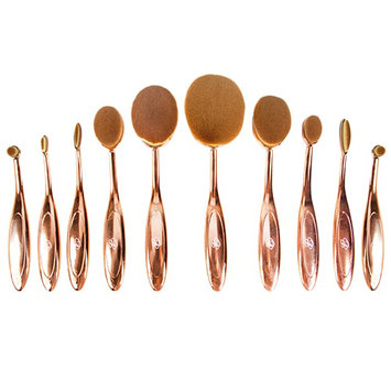 Glamher Booth 10 Piece Rose Metal Oval Brush Set