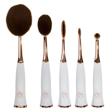 Glamher Booth 5 Piece Rose Gold & White Oval Magnetic Brush Set