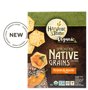 Harvest Stone 2041598 3.5 oz Peruvian Aji Amarillo Organic Native Grains Crackers - Case of 6