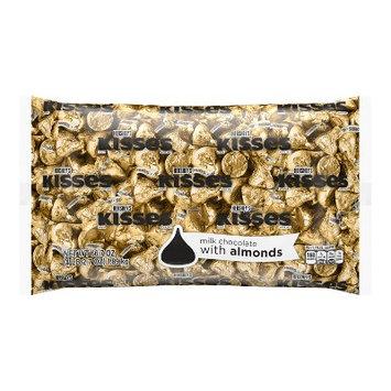 KISSES Milk Chocolates with Almonds, Gold, 66.7 oz