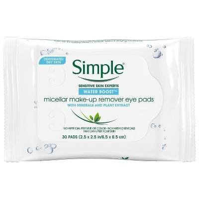 Simple Water Boost Micellar Eye Makeup Remover Pads - 30ct