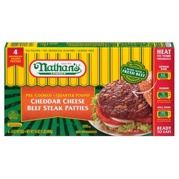 Nathan's® Famous Cheddar Cheese Pre-Cooked Quarter Pound Beef Steak Patties