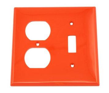 Leviton Wallplate 2-Gang 1-Toggle 1-Duplex Standard Size Nylon - Red