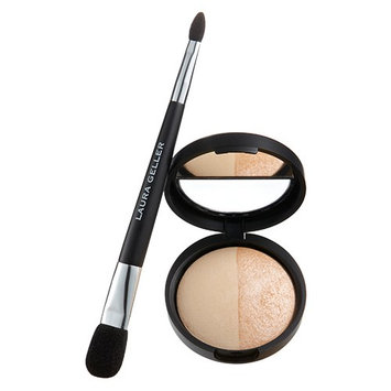 Laura Geller Baked Split Highlighter Duo with Brush Portofino And French Vanilla