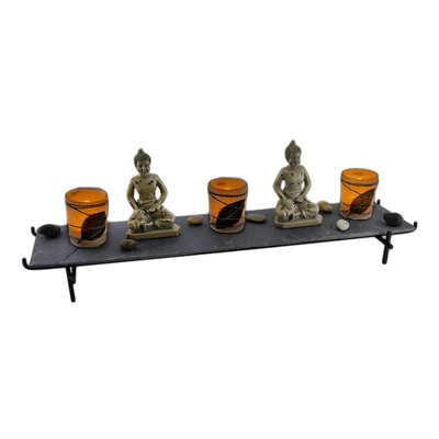 Sitting Buddha 3 Piece Candle Holder and Slate Tray Set