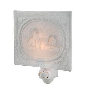 White Porcelain Framed Cherubs Night Light