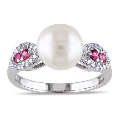 Miadora 10k Gold Cultured Freshwater Pearl, Pink Sapphire and 1/6ct TDW Diamond Ring (I2-I3)