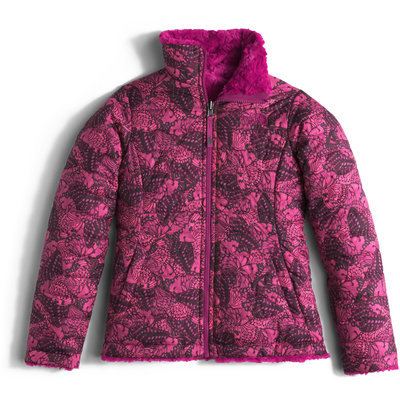 Girl's The North Face 'Mossbud Swirl' Reversible Water Resistant Jacket, Size M (10-12) - Pink