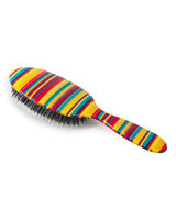 Rock & Ruddle Large Thin Multicolored-Stripes Mixed-Bristle Hairbrush