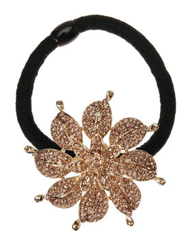 Rhinestone Flower Ponytail Holder, Lt Topaz/Gold - L. Erickson