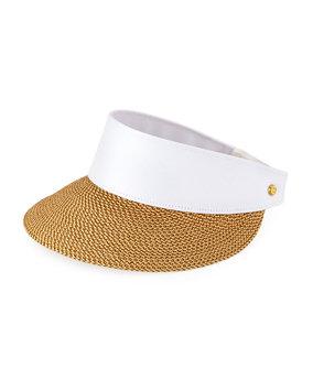 Eric Javits Women's Fashion Designer Headwear Champ Visor Hat in Peanut