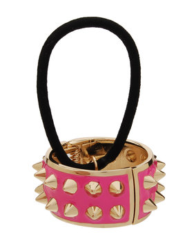 Spiked Enamel Ponytail Holder with Cuff, Watermelon - L. Erickson