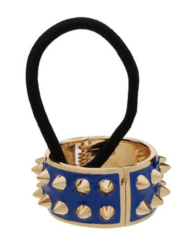 Spiked Enamel Ponytail Holder with Cuff, Blueberry - L. Erickson