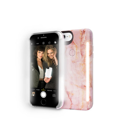 Lumee Limited Edition iPhone 8 Plus Photo-Lighting Duo Case, Pink Quartz