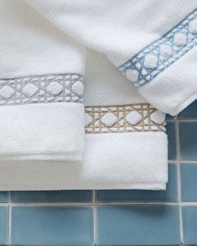 Matouk Cane-Embroidered Hand Towel, Sterling