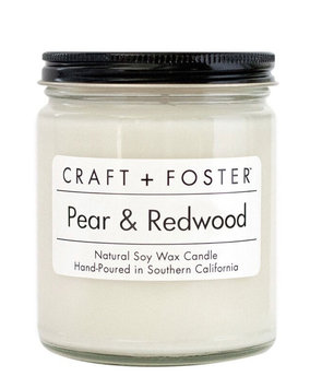 Craft + Foster Pear and Redwood Scented Candle, 8 oz./226g