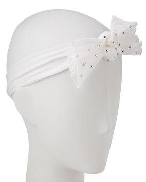 Bari Lynn Two-Bow Stretch Rhinestone Headband, White