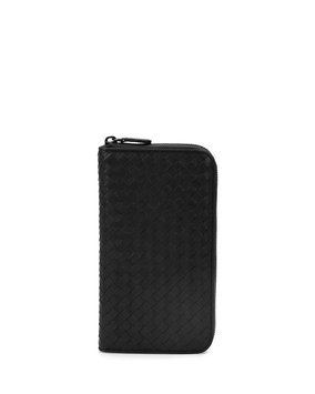Woven Leather Travel Wallet, Black - Bottega Veneta
