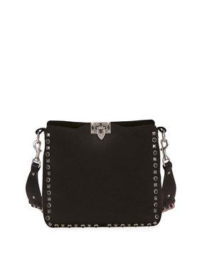 Valentino Rockstud Rolling Small Flip-Lock Messenger Bag, Black