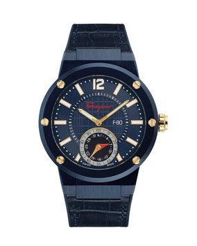 Salvatore Ferragamo 44mm F-80 Motion Leather Smartwatch, Blue