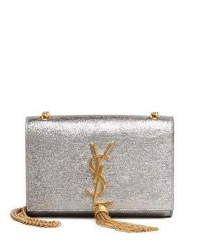 Saint Laurent Cassandre Small Tassel Crossbody Bag, Silver