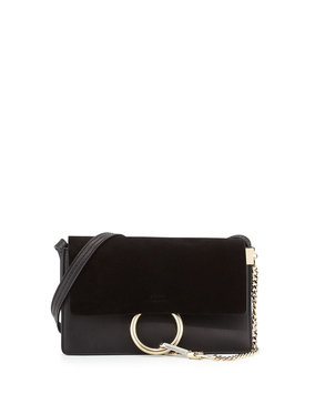 Faye Small Suede/Leather Shoulder Bag, Black - Chloe