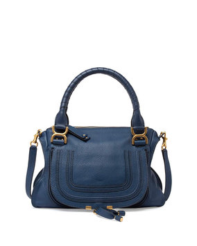 Marcie Medium Satchel Bag, Navy - Chloe