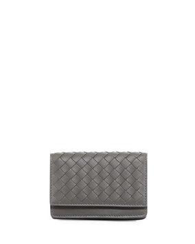 Woven Flap Credit Card Case, Light Gray, Light Grey - Bottega Veneta