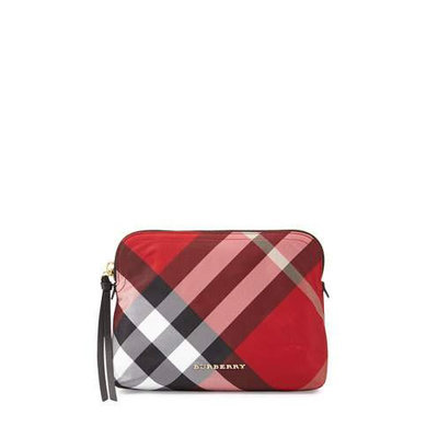 Burberry Large Check Nylon Pouch, Size One Size - Parade Red