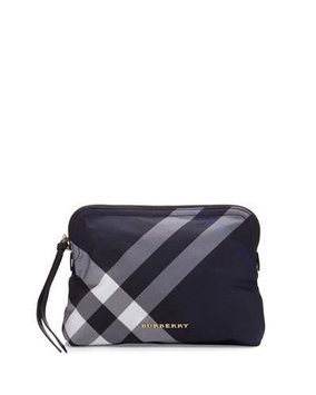 Burberry Large Check Nylon Pouch, Size One Size - Indigo Blue