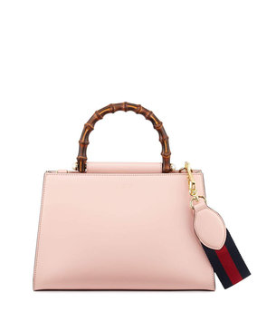 Versace Nymphea Small Bamboo-Handle Tote Bag, Soft Pink/White