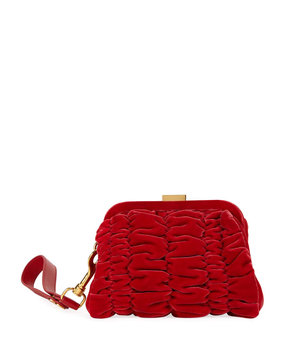 Tom Ford Quilted Velvet Clutch Bag with Wristlet, Red