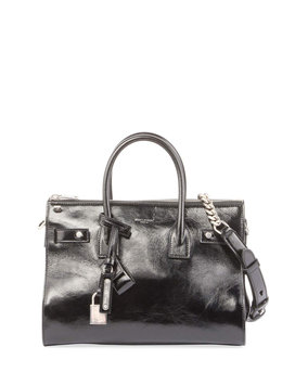 Saint Laurent Sac de Jour Baby Crinkled Leather Tote Bag