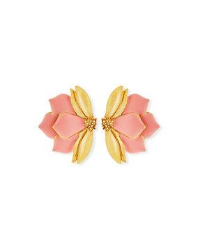 Oscar De La Renta Painted Bold Petal Clip-On Earrings