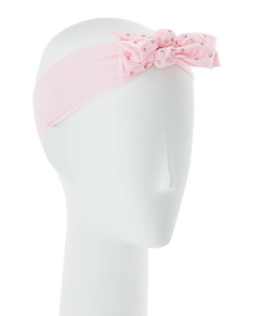 Bari Lynn Girls' Two-Bow Stretch Rhinestone Headband, Light Pink