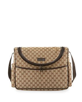 Versace Gucci GG Canvas Leather-Trim Diaper Bag, Brown