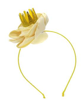 Bari Lynn Girls' Bella Crystal Crown Floral Headband, Yellow