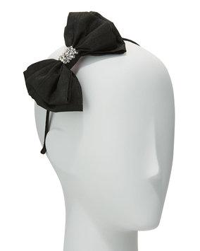 Bari Lynn Girls' Taffeta Bow Headband, Black