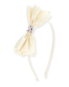 Bari Lynn Girls' Taffeta Bow Headband, White