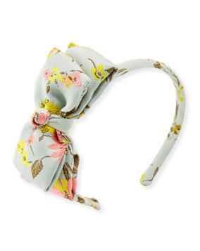 Oscar De La Renta Girls' Jacquard Peony Bow Headband