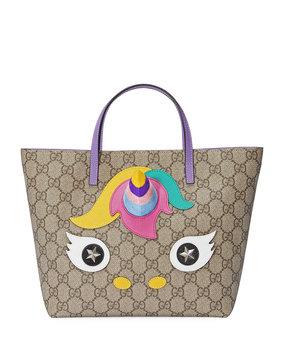 Gucci Girls' GG Supreme Unicorn Tote Bag, Beige