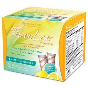 Oxyvita Ltd THREELAC Lemon flavour microencapsulated Intestinal pH and Microflora Optimiser. 60 Sachets by Global Health Trax