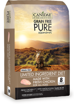 CANIDAE Grain Free PURE Elements Adult Cat Formula Made With Fresh Chicken, 5 lbs.